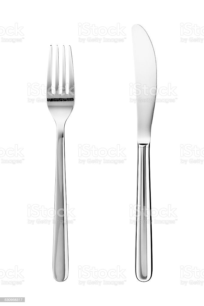 Knife and fork isolated on white background stock photo