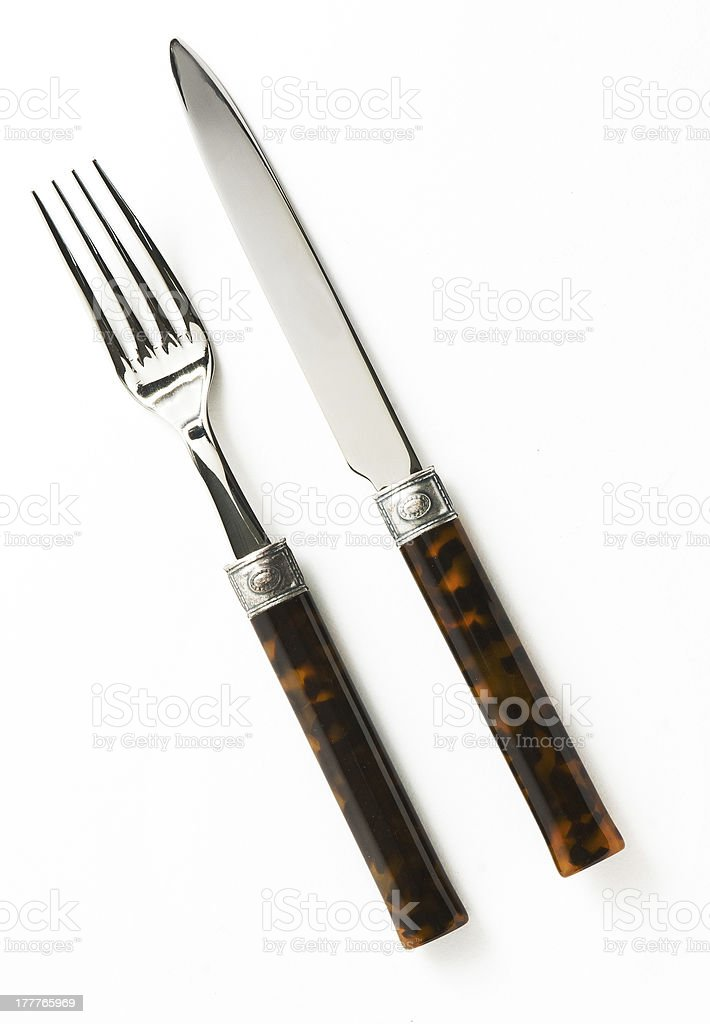 knife and fork needles isolated royalty-free stock photo
