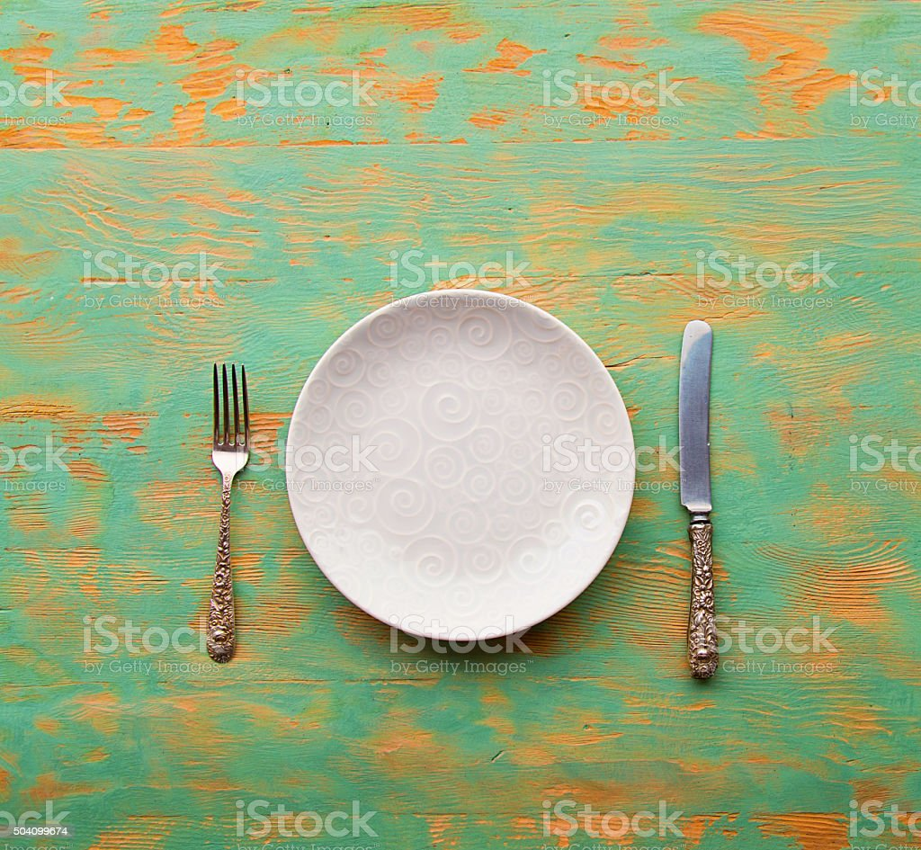 Knife and Fork Old Wooden Table stock photo