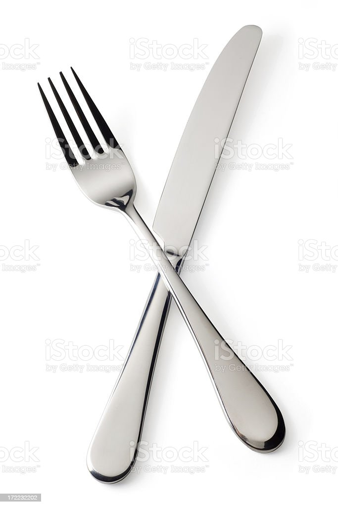 Knife and Fork on White with Clipping Path stock photo