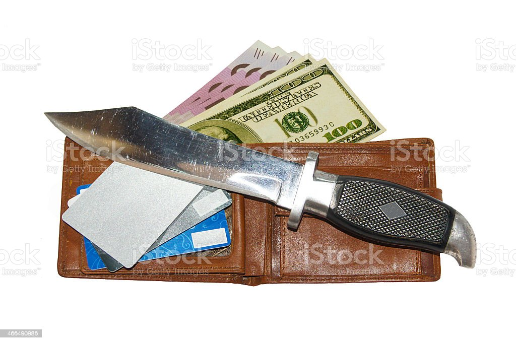 knife and wallet royalty-free stock photo