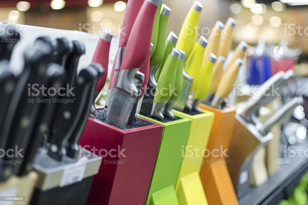 Knife blocks stock photo