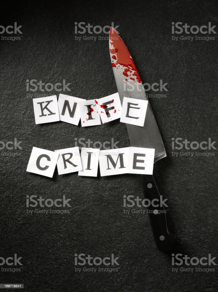 Knife Crime in Words with Blood stock photo