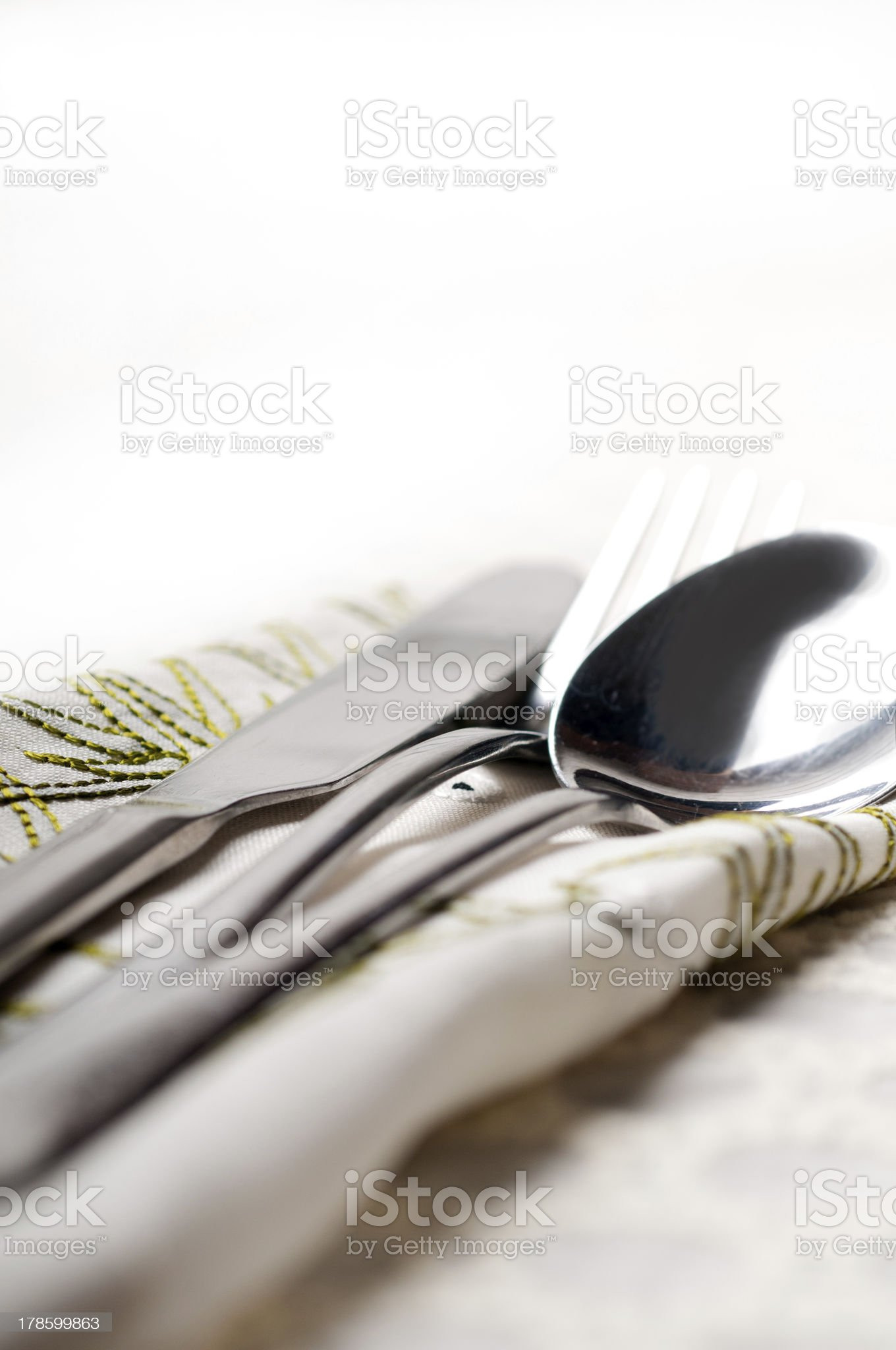 knife fork and spoon macro royalty-free stock photo