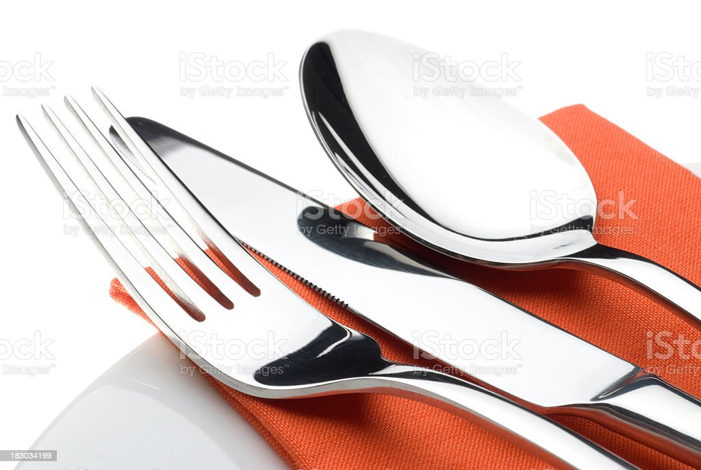 Knife, fork and spoon stock photo