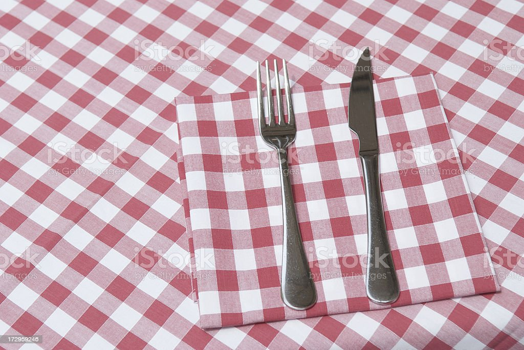 Knife Fork Red Checkered Tablecloth royalty-free stock photo