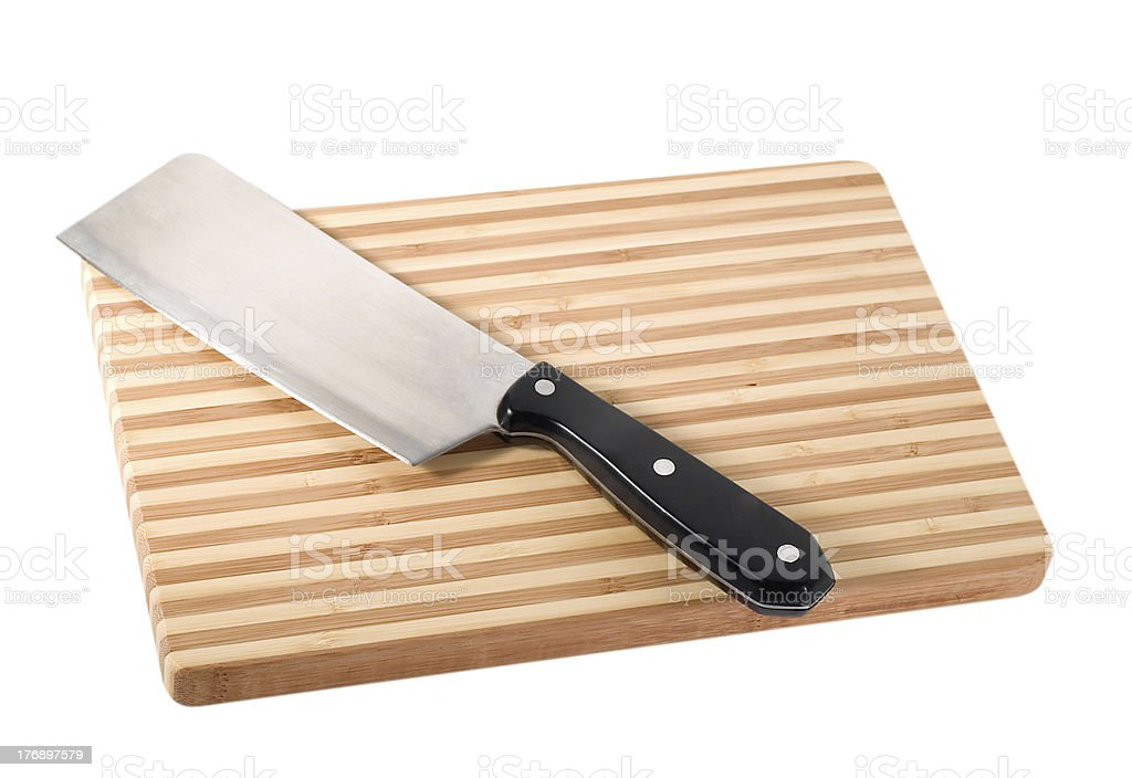 Knife on cutting board royalty-free stock photo