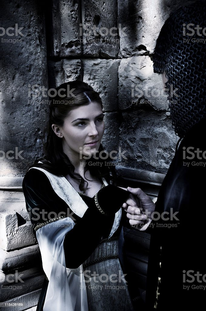 knigh and maiden stock photo