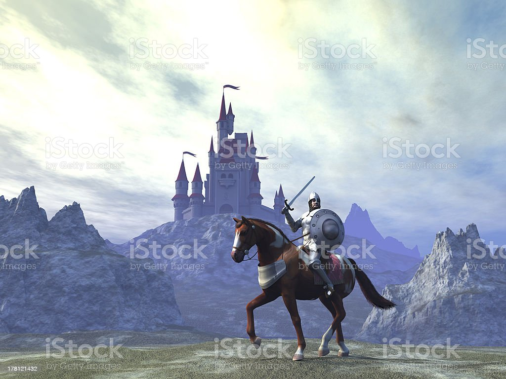 Knight and castle stock photo