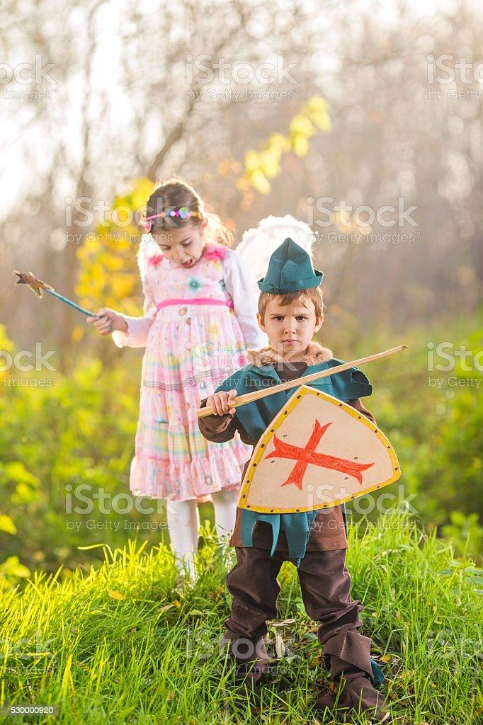 Knight and Fairy stock photo