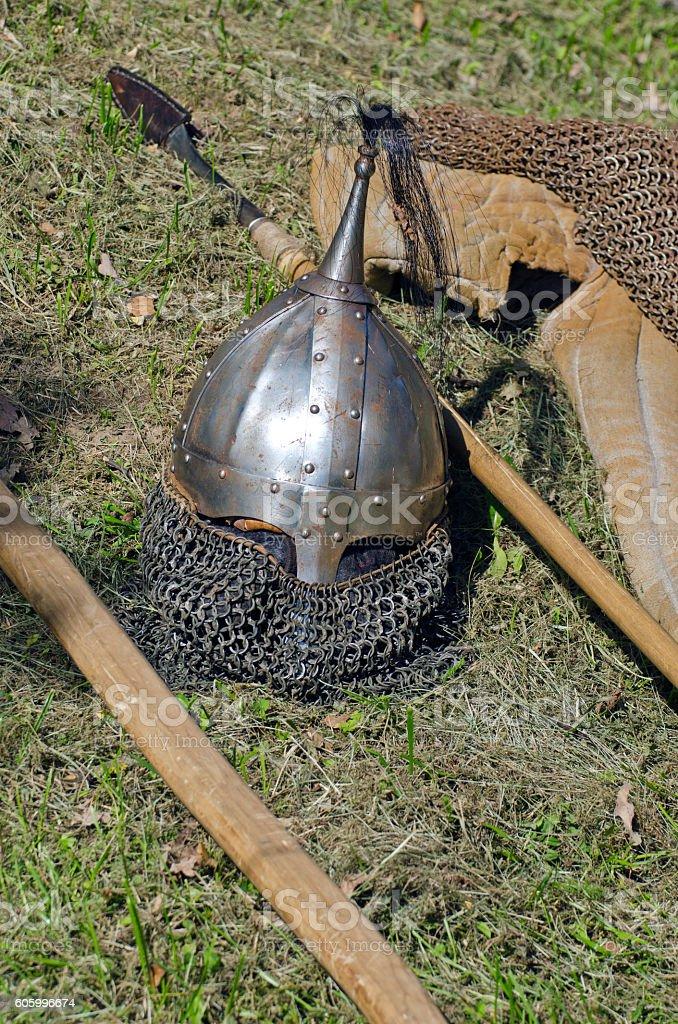 Knight armor headpiece stock photo