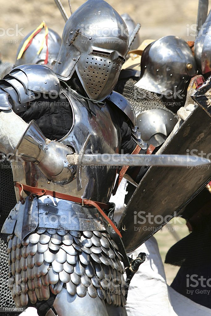 knight attacks stock photo