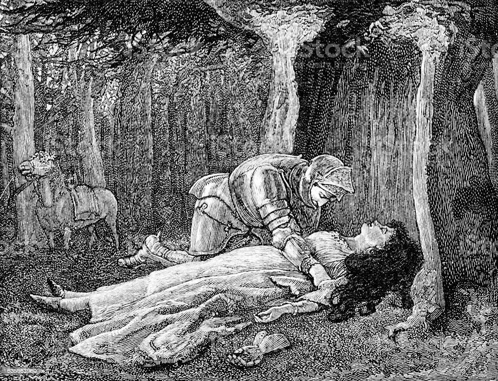 Knight attends sleeping maiden woman stock photo