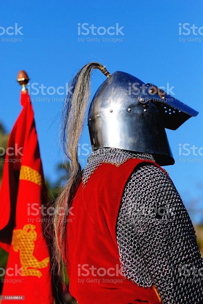 Knight awaiting to fight stock photo