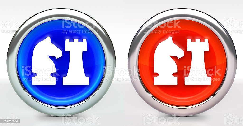 Knight & Castle Icon on Button with Metallic Rim stock photo