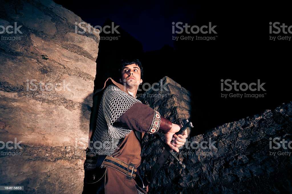 knight defending his fortress royalty-free stock photo