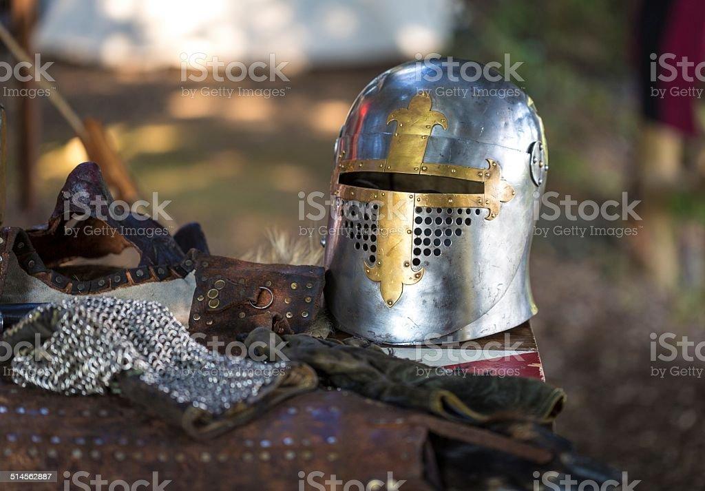 Knight equipment stock photo