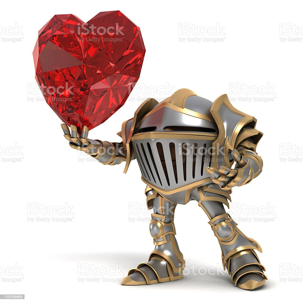 Knight fall in love stock photo
