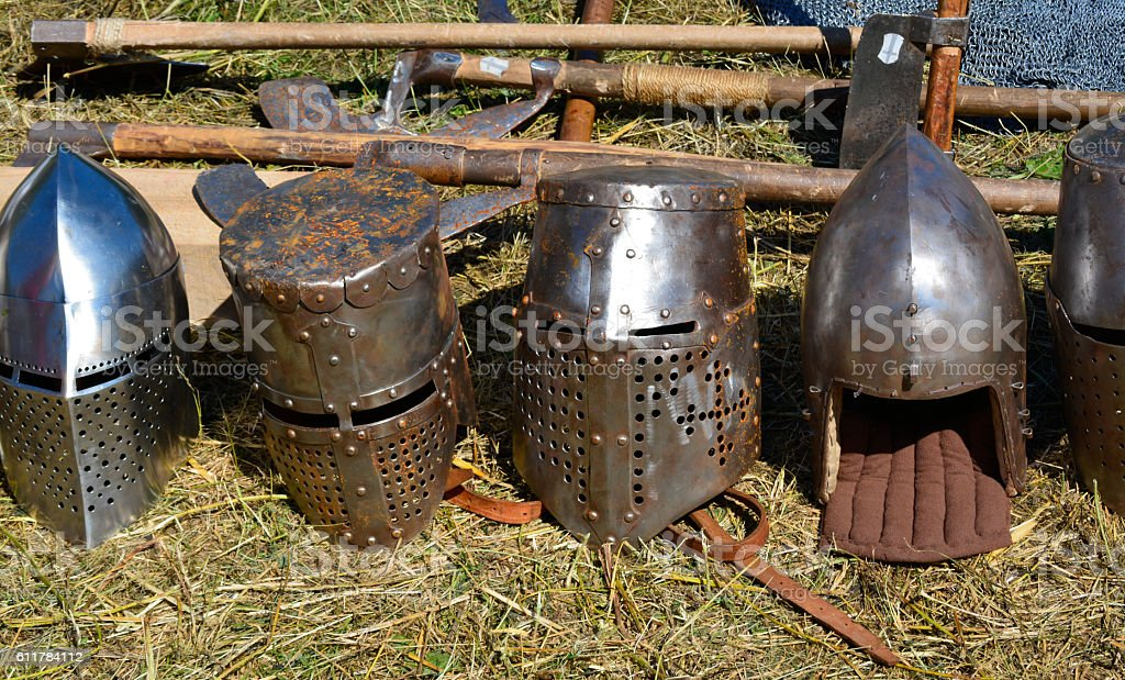 knight helmet stock photo