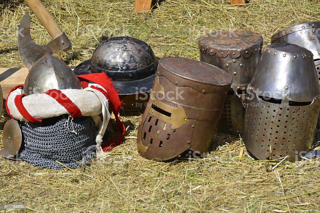 knight helmet stock photo