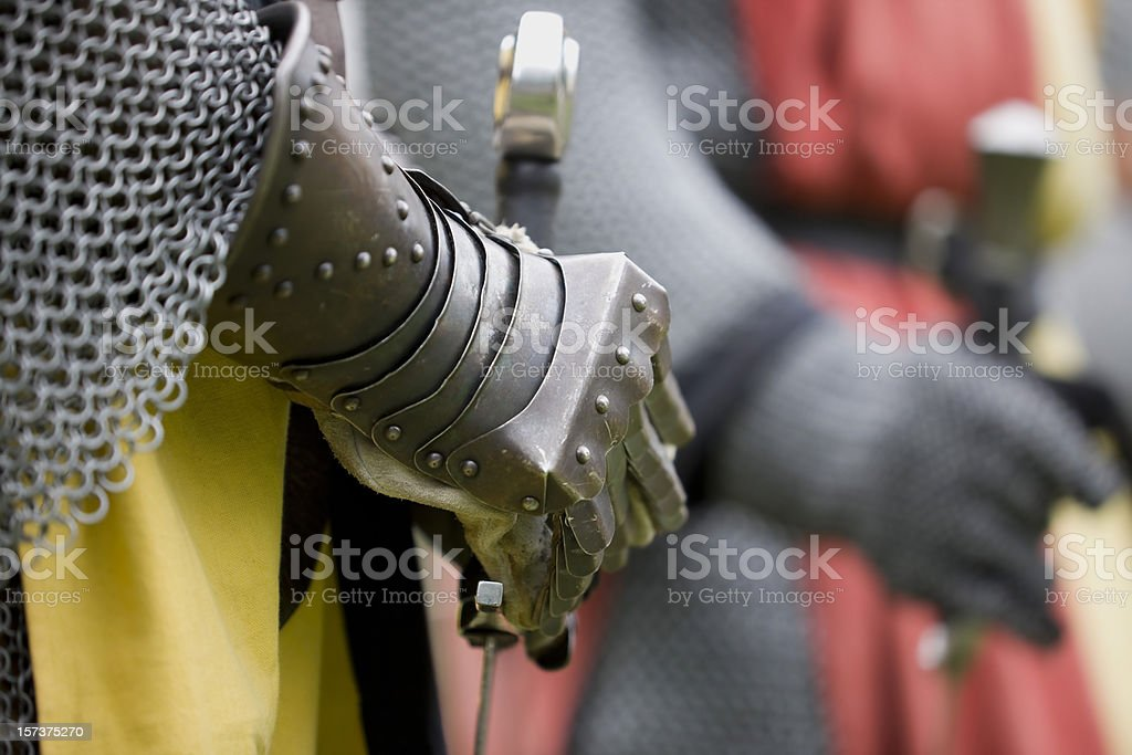 Knight holding a sword stock photo