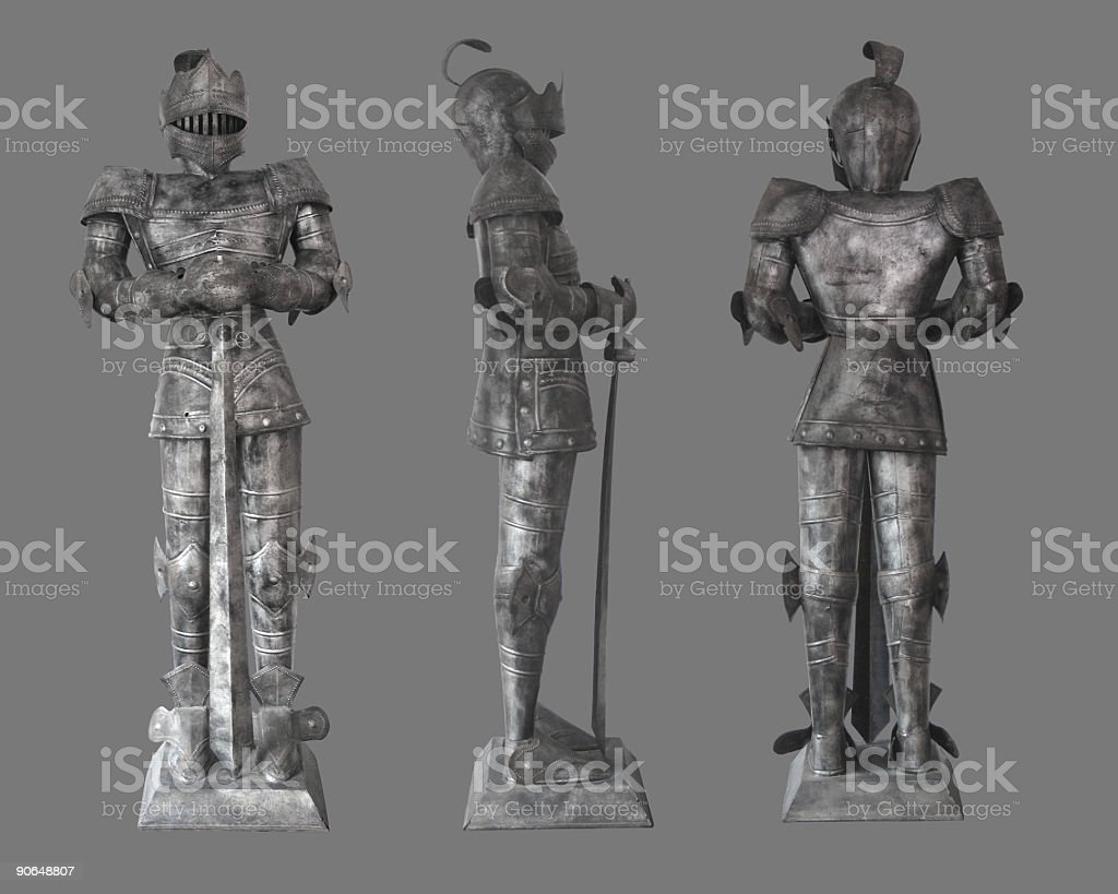 Knight in Armor ( Clip Path ) stock photo