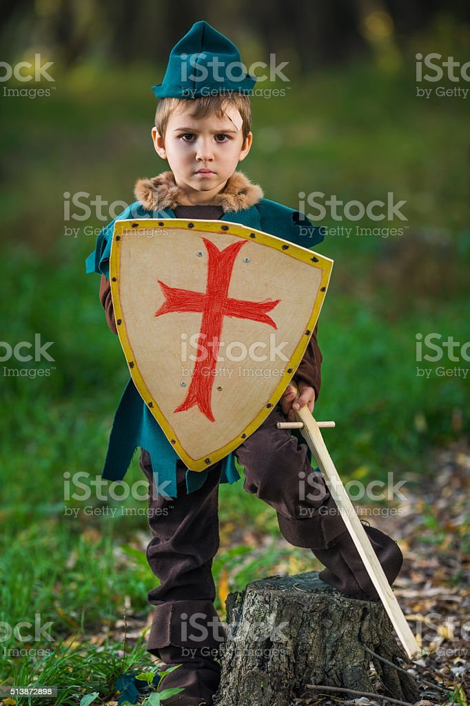 Knight in Forest stock photo