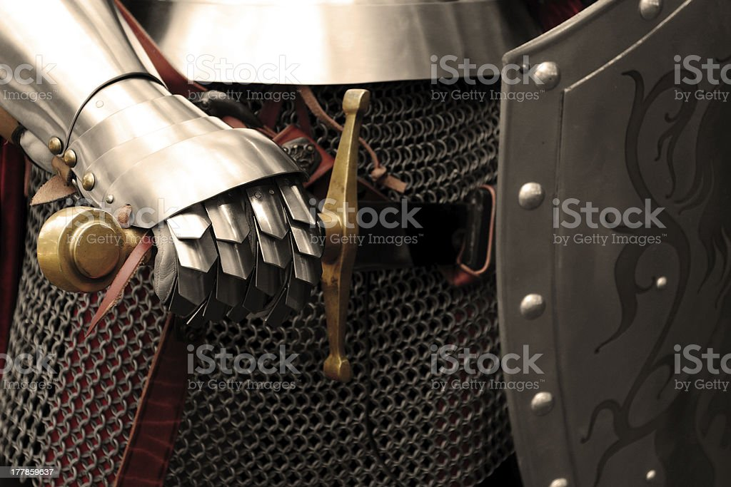 Knight in shining armor close up stock photo