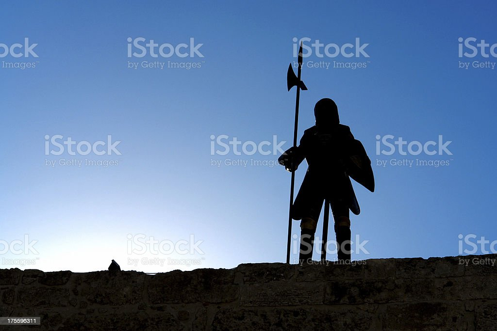 Knight on guard stock photo