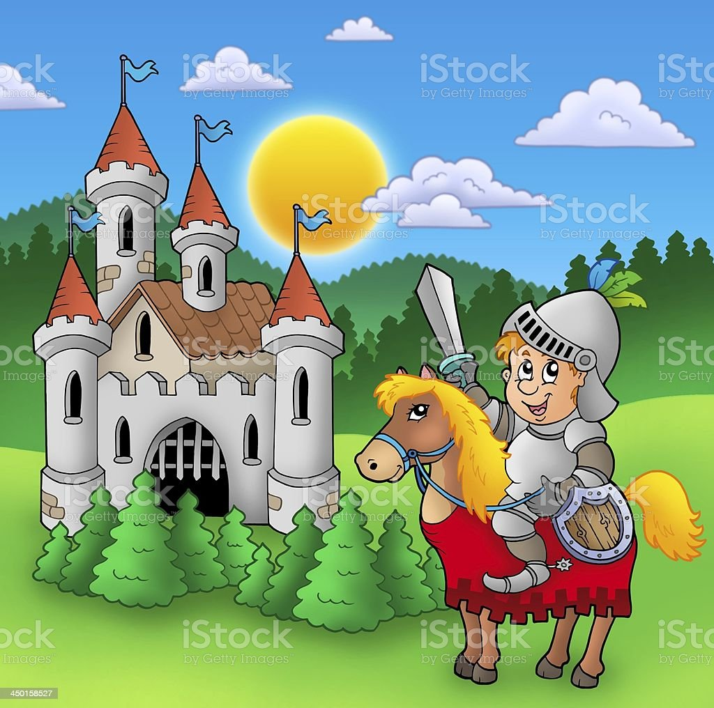 Knight on horse with old castle stock photo