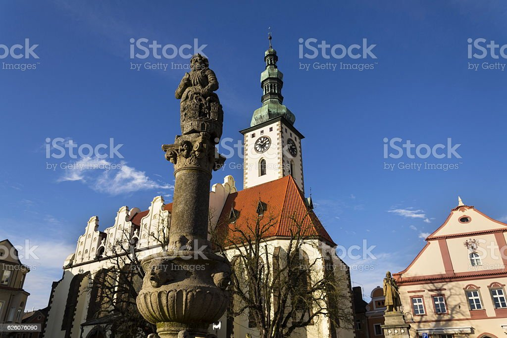 Knight Ronald on fountain before church in Tabor, Czech Republic stock photo