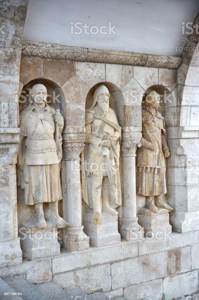 Knight statues from Fisherman's Bastion, Budapest, Hungary stock photo