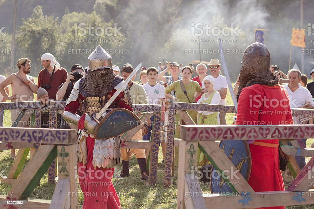Knight Tournament at Tustan' festival in Urych, Ukraine, August stock photo