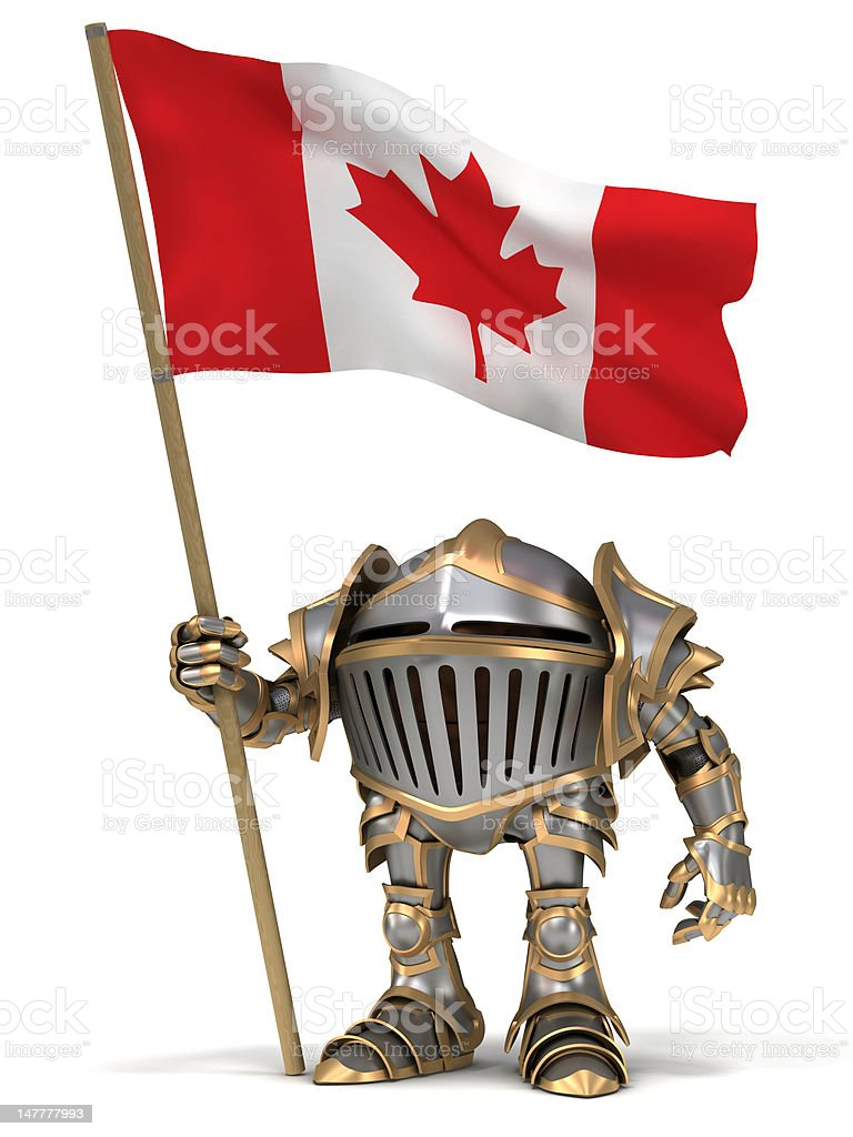 Knight with Canada flag royalty-free stock photo