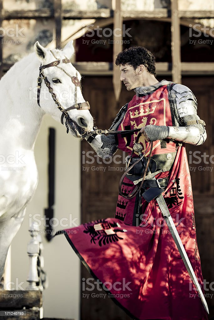 knight with horse stock photo