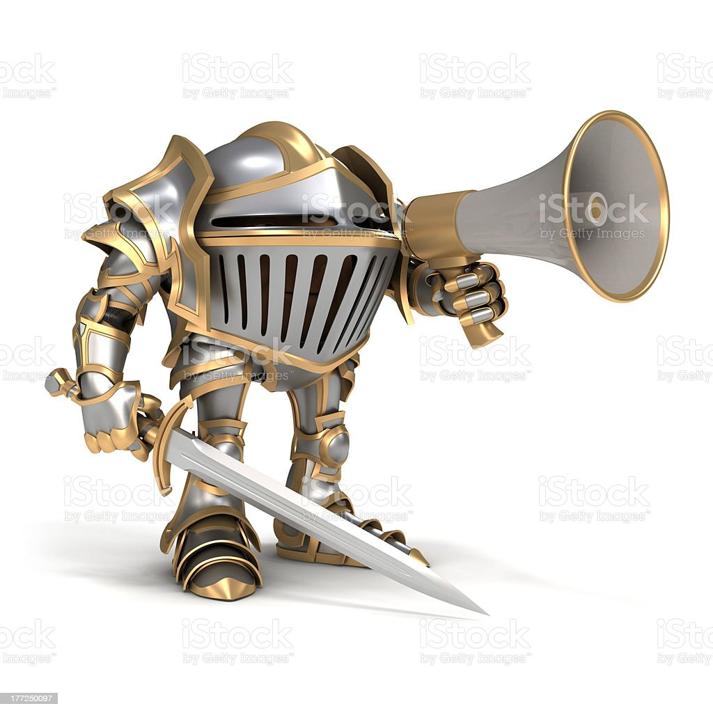 Knight with megaphone stock photo