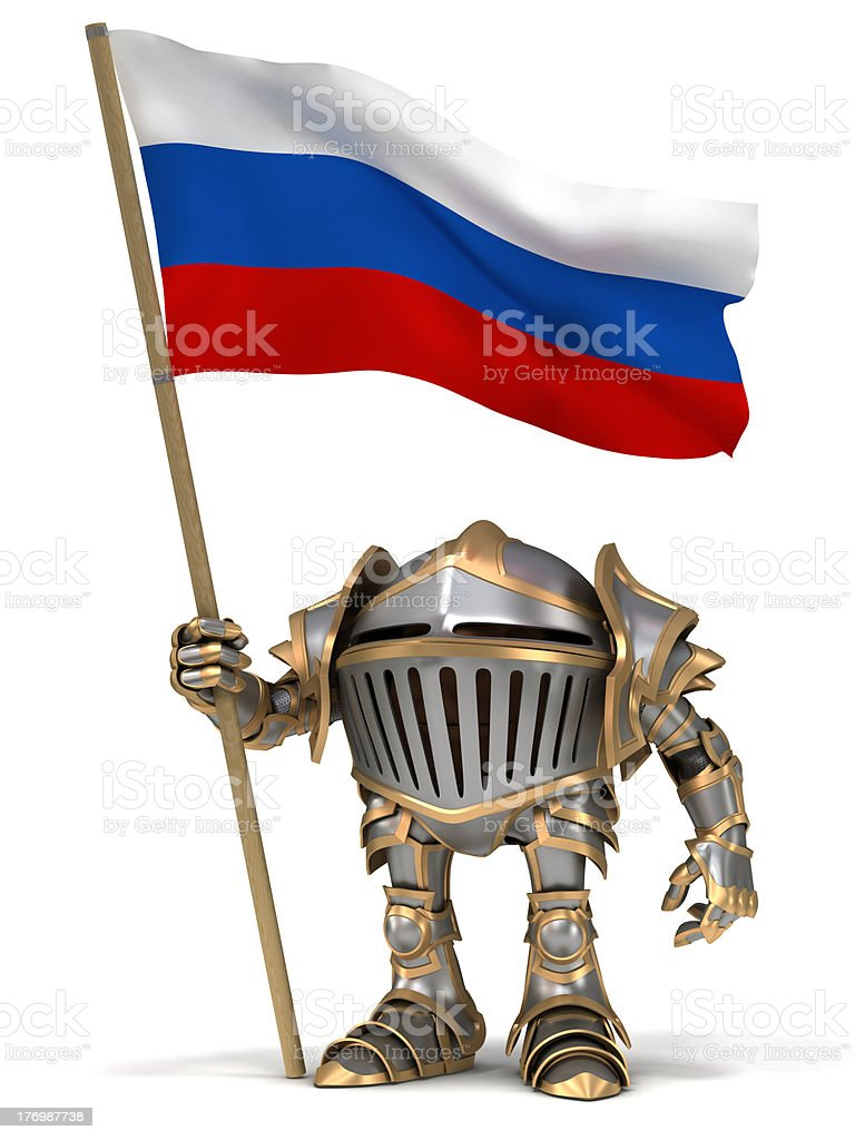 Knight with Russian flag stock photo