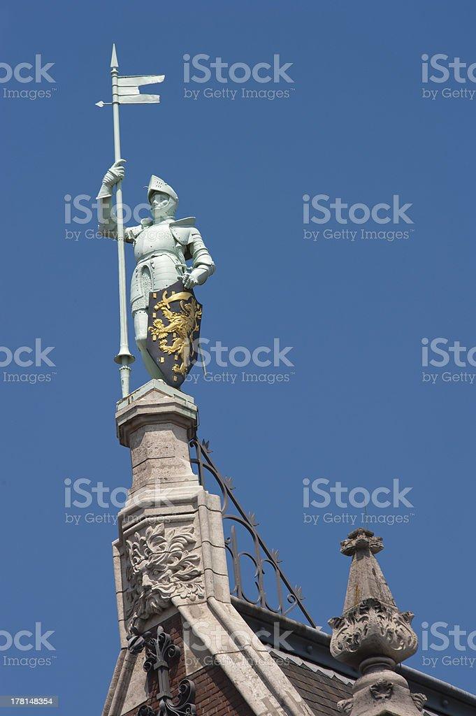 Knight with shining armor taken sideways royalty-free stock photo