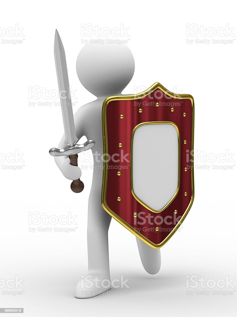 knight with sword on white background. Isolated 3D image royalty-free stock photo