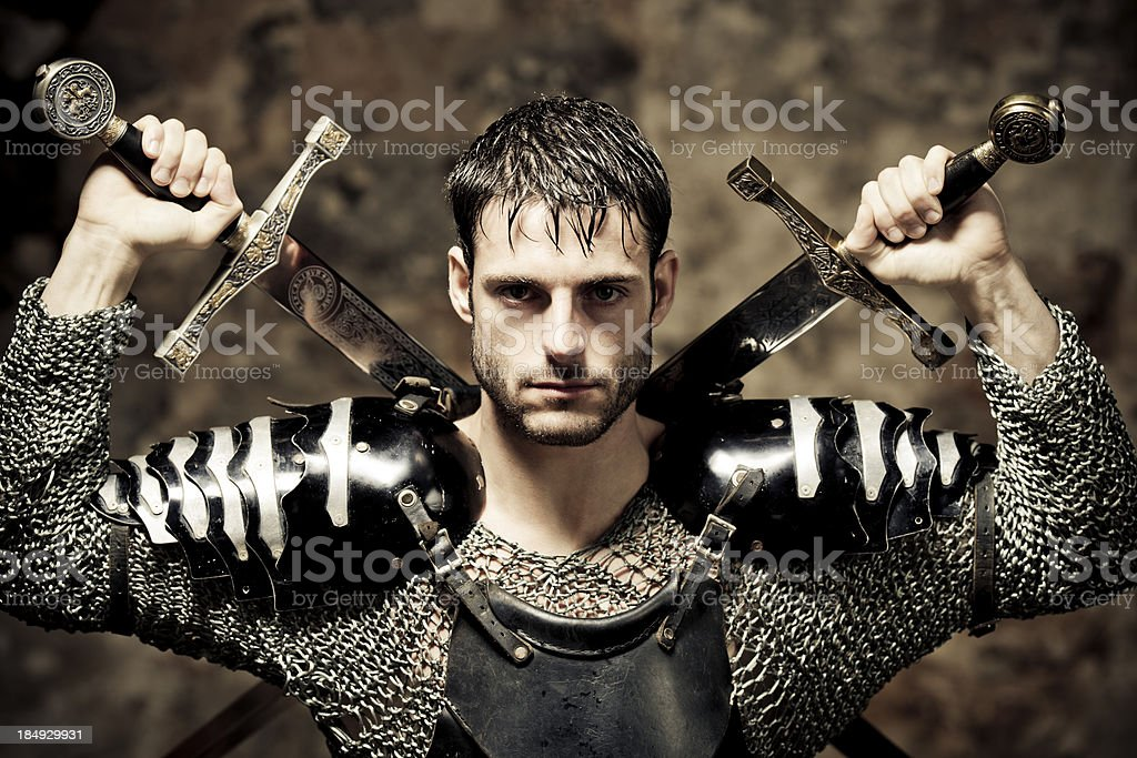 knight with swords stock photo