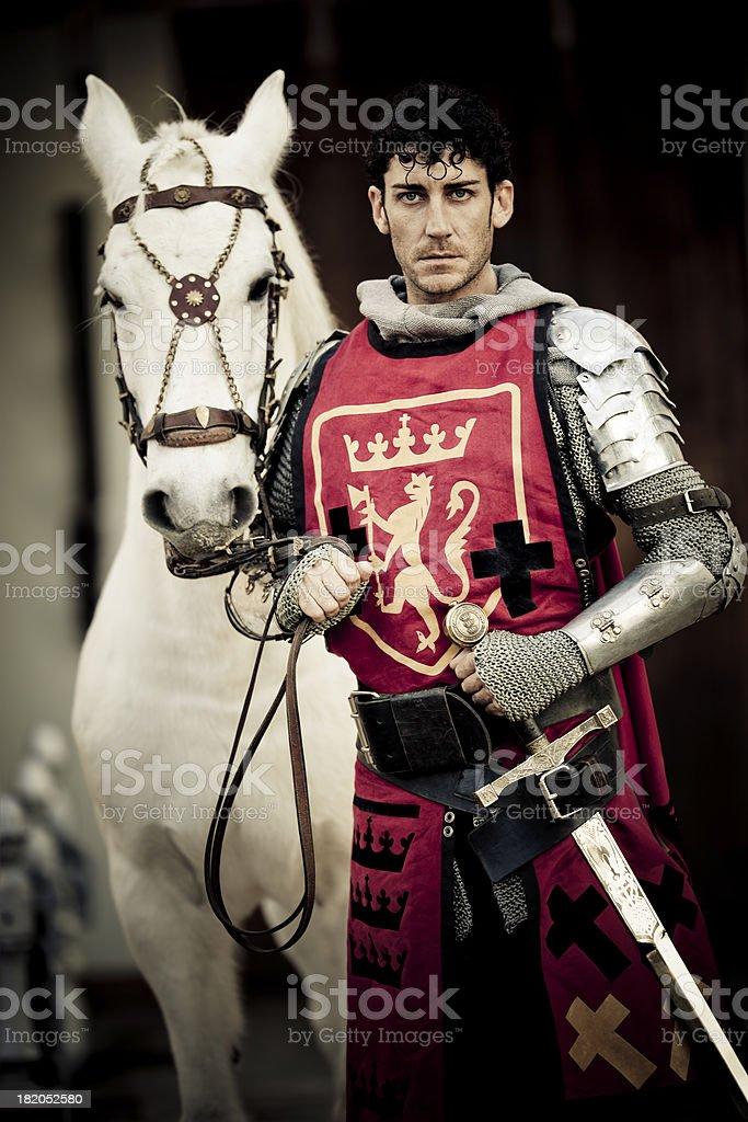 knight with white stallion stock photo