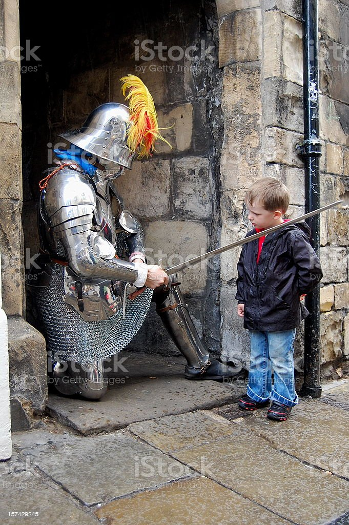Knighted Child. stock photo