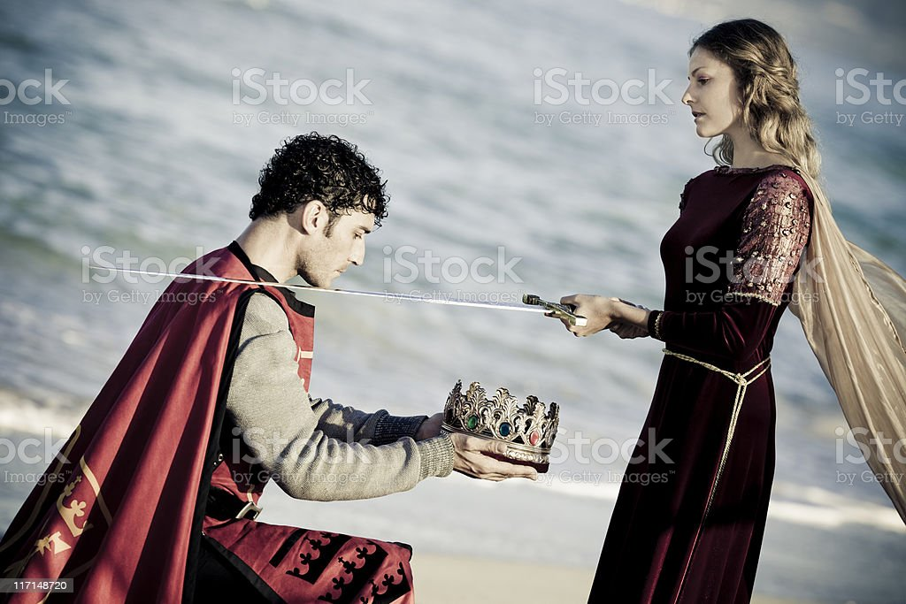 knighting the king stock photo