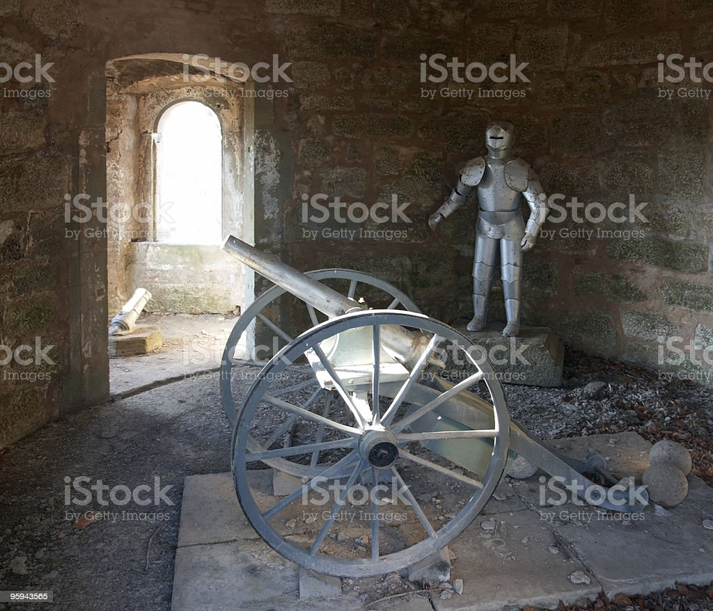 knight´s armor and cannon royalty-free stock photo