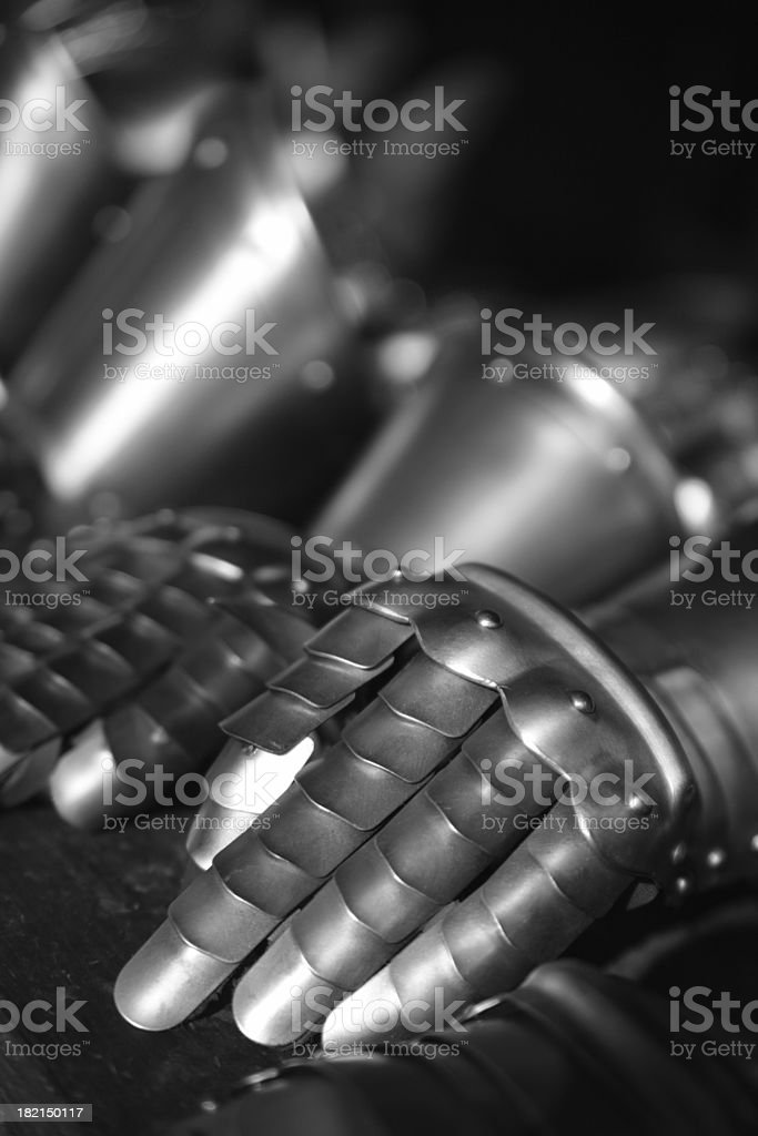 Knights armor gloves stock photo