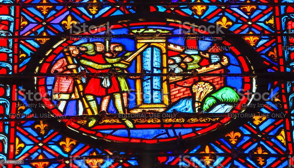 Knights Castle Seige Crusade Stained Glass Sainte Chapelle Paris France stock photo