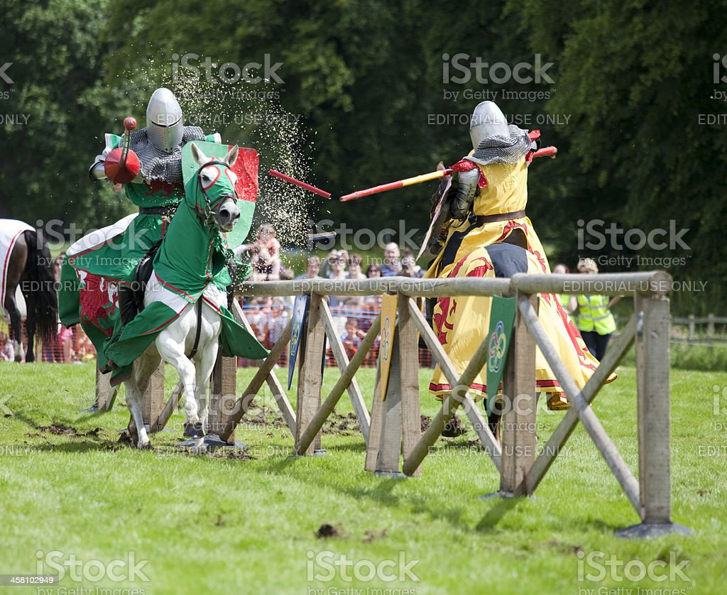 Knights clashing at a Joust stock photo