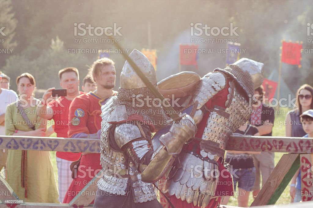 Knights fighting at Tustan' festival in Urych, Ukraine, August 2 stock photo