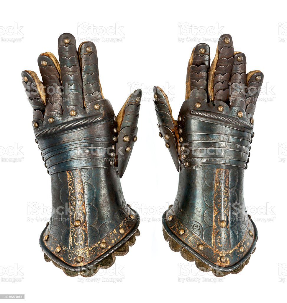 Knights gauntlets ancient medievil original isolated with clippi stock photo