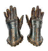 Knights gauntlets ancient medievil original isolated with clippi